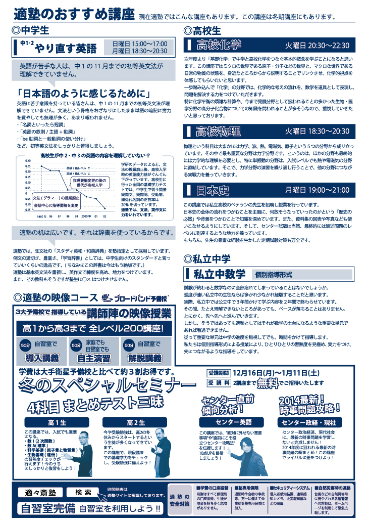 名古屋市北区の学習塾 適塾通信12月号